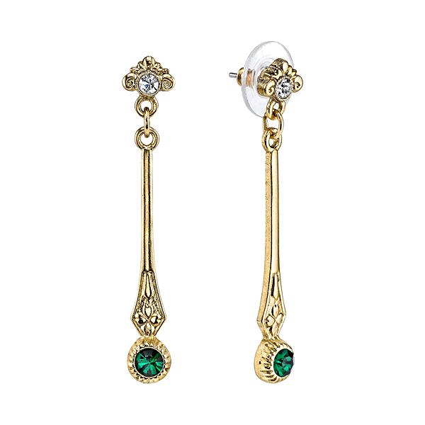 Downton Abbey® Gold-Tone Emerald Green Crystal Linear Earrings