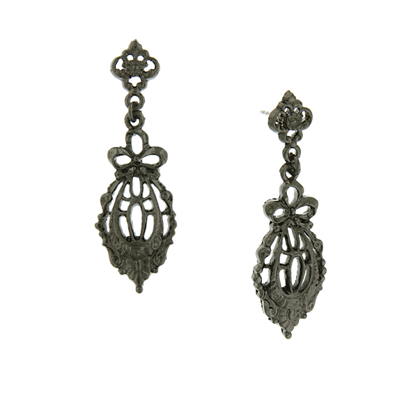 Downton Abbey® Jet-Tone Bow Drop Filigree Earrings