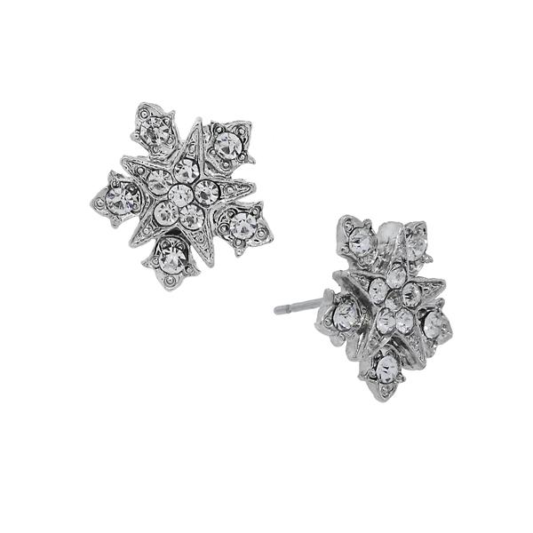 Downton Abbey® Silver-Tone Crystal Starburst Button Earrings