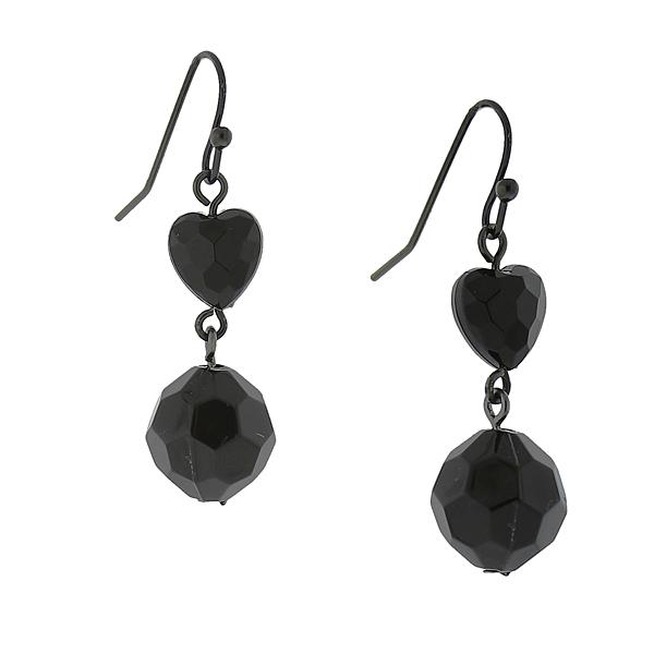 Jet Black Heart Drop Earrings