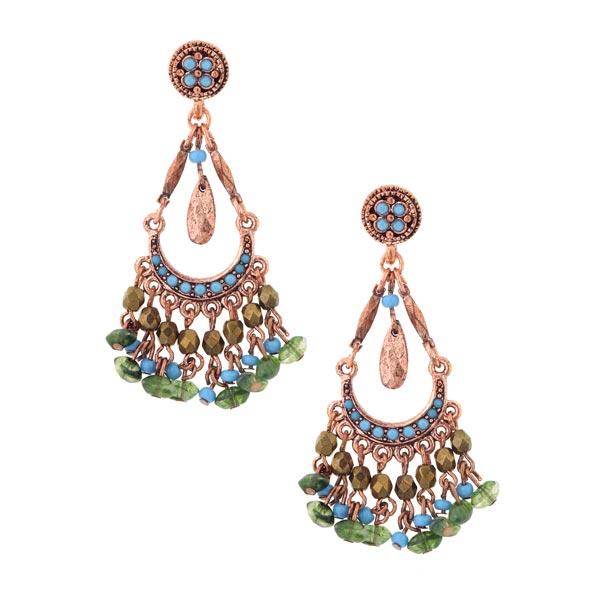 Azteca Copper-Tone Green & Aqua Blue Chandelier Earrings
