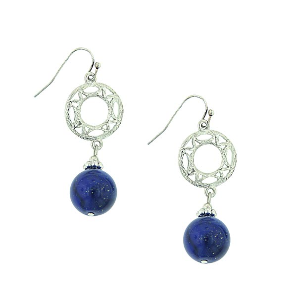 Seine Silver-Tone Midnight Blue Circular Drop Earrings