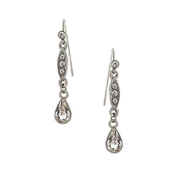 2028 Silver Tone Crystal Linear Drop Earrings