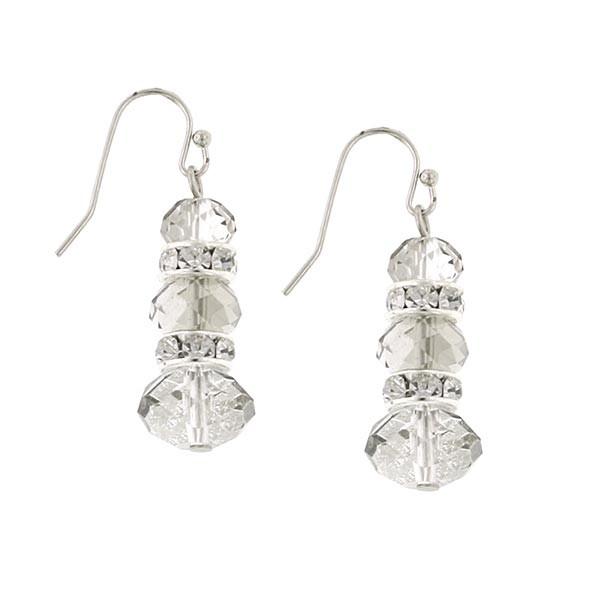 Silver-Tone Grey Crystal Lux-Cut Triple Drop Earrings