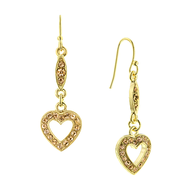 2028 Be Mine Gold-Tone Brown Crystal Heart Drop Earrings