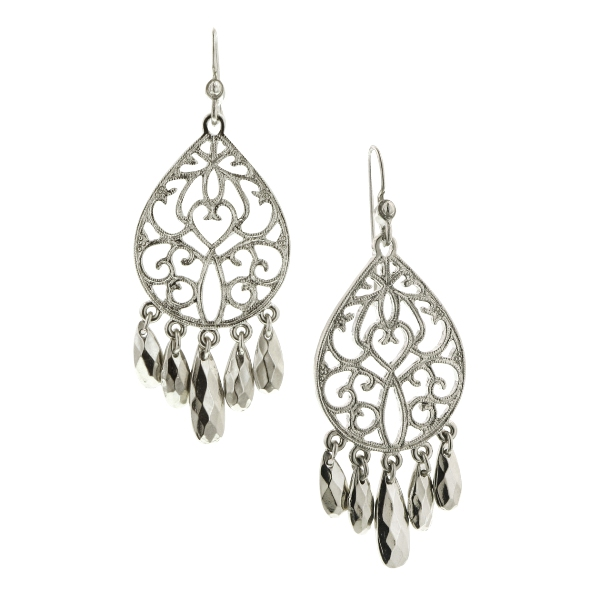 Charm & Romance Silver-Tone Filigree Earrings