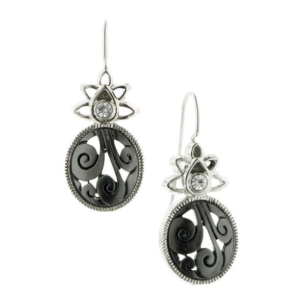 Clarissa Swirls Star Crystal Jet Earrings