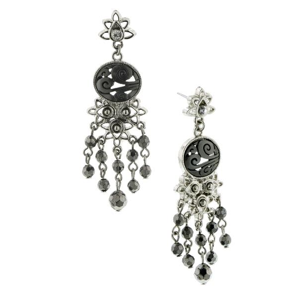 Clarissa Swirls Hematite Chandelier Earrings