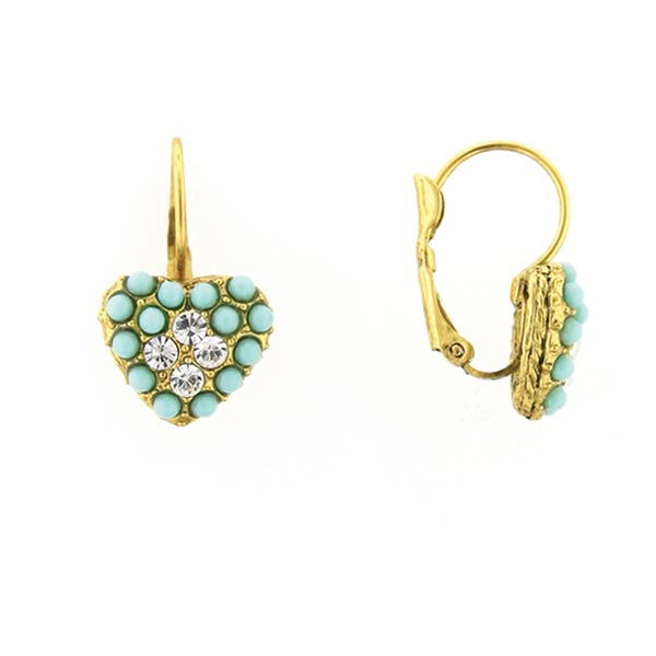 Antiquities Couture 1960's Vintage Turquoise Heart Drop Earrings