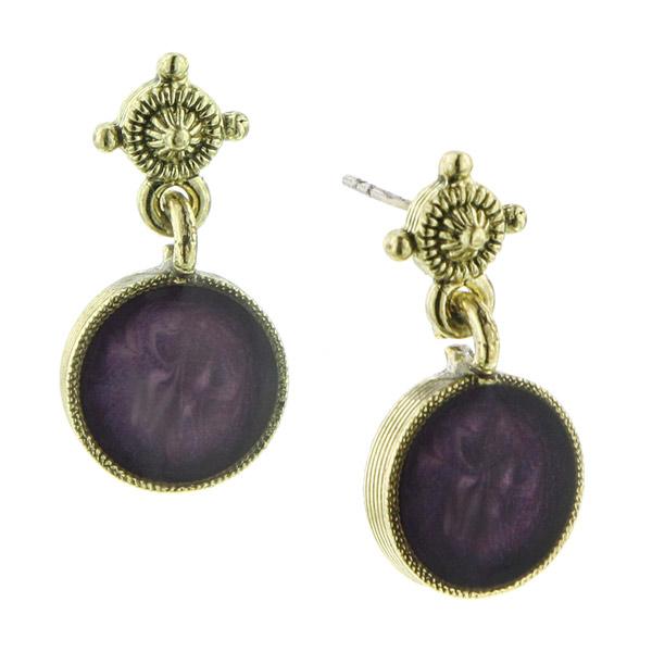 Bourges Ship Petite Round Purple Drop Earrings
