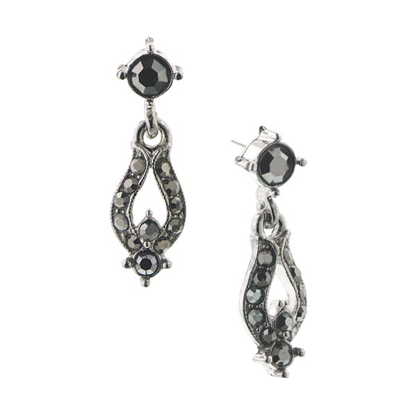 2028 Stardust Silver-Tone Dark Grey Drop Earrings