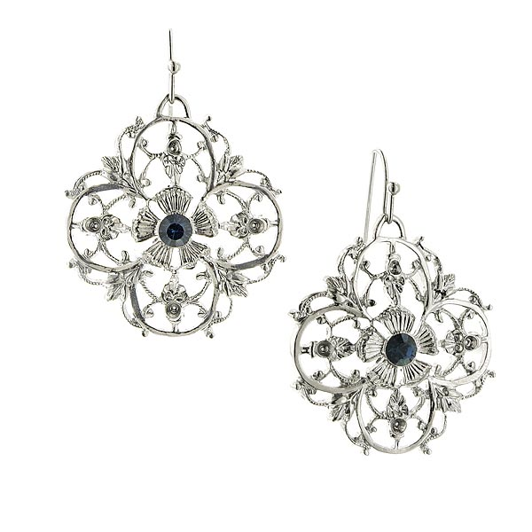 Liliana Silver-Tone Vine Clover Drop Earrings