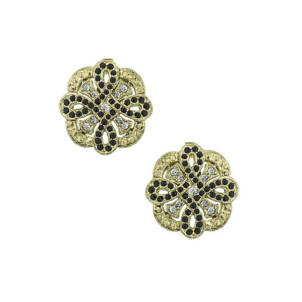 Pavé Large Button 1920s Earrings