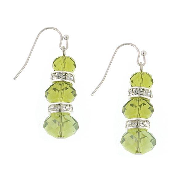 Silver-Tone Green Lux-Cut Bead Triple Drop Earrings