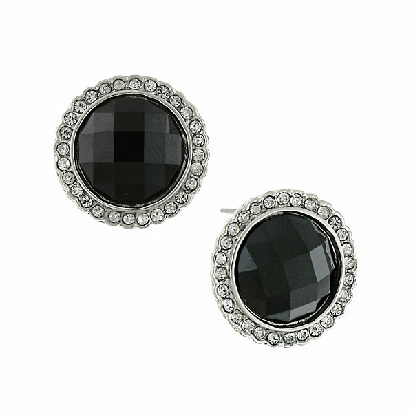 Silver-Tone Black and Crystal Round Button Earrings