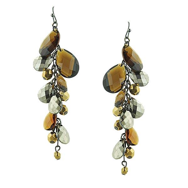 Smoky Woods Dangle Teardrop Earrings