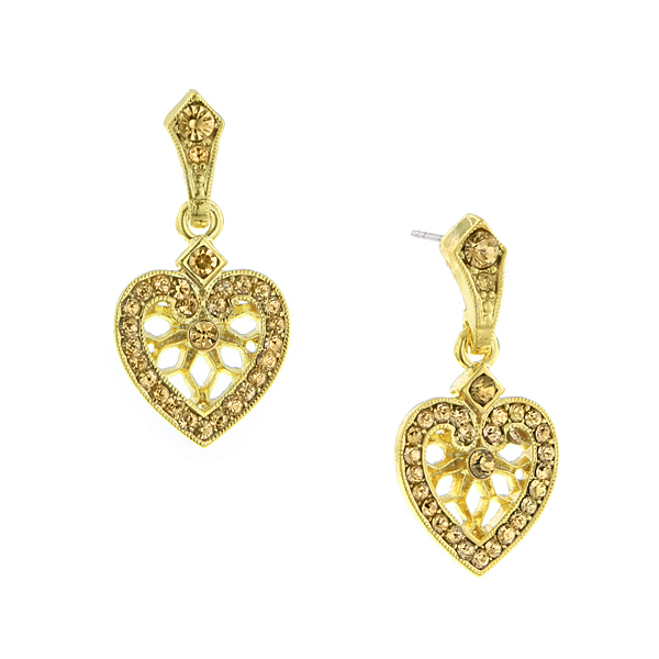 2028 Be Mine Gold-Tone Brown Crystal Filigree Heart Drop Earrings