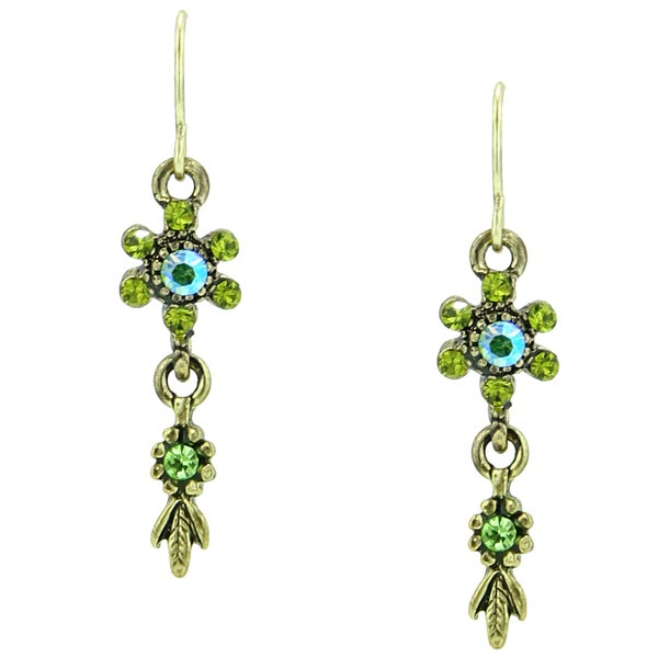 Burnished Collectibles Green Peridot Color Drop Earrings