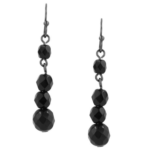 Black Multi-Bead Linear Drop Earrings