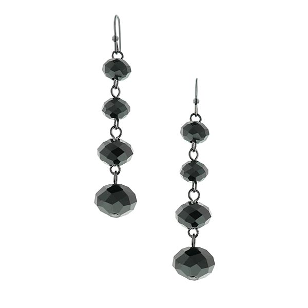 Lux Cut Black Beaded Linear Drop Earrings