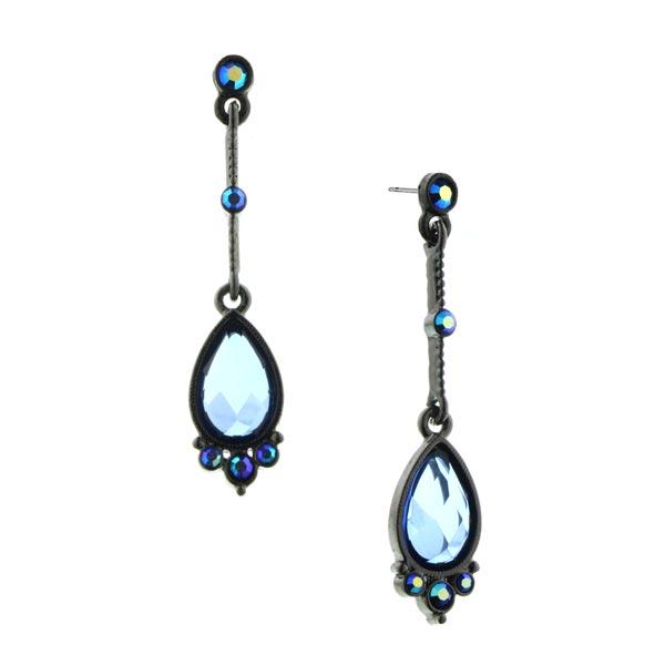 2028 Jet-Tone Blue Linear Teardrop Earrings