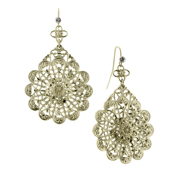 De Luca Brass Flower Knit Filigree Earrings