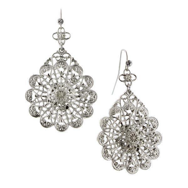 Silver-Tone Crystal Filigree Pear-Shaped Drop Earrings