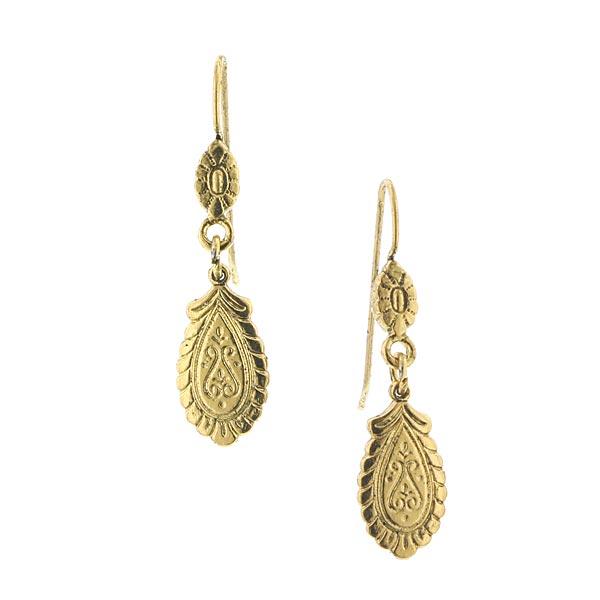 Brass-Tone Etched Drop Earrings