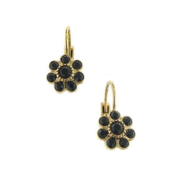 Brass-Tone Black Crystal Flower Drop Earrings (Sub-Exact)