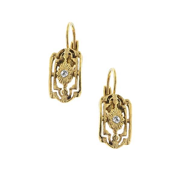 Brass-Tone Flower Filigree Drop Earrings