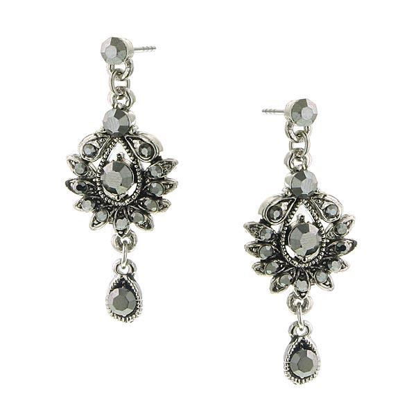 2028 Marcasite Glimmer Drop Dangle Earrings