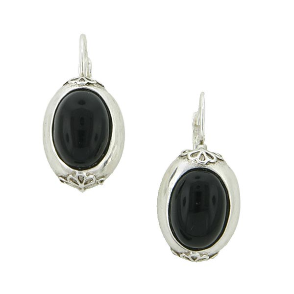 Antiquities Couture Silver-Tone Black Oval Drop Earrings