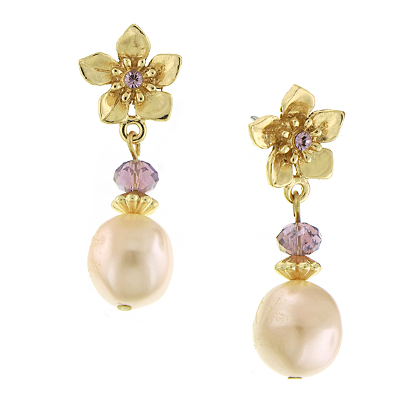 Signature Gold-Tone Pink Faux Pearl Flower Drop Earrings