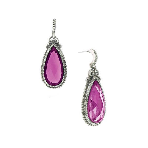 Silver-Tone Fuchsia Pear-Shaped Drop Earrings