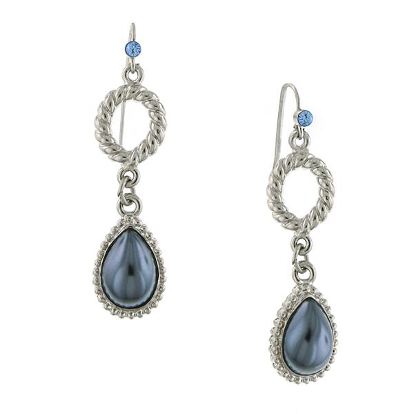 Signature Silver-Tone Grey Faux Pearl Teardrop Earrings