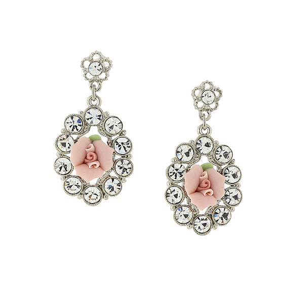 Silver-Tone Crystal Genuine Porcelain Pink Rose Oval Drop Earrings