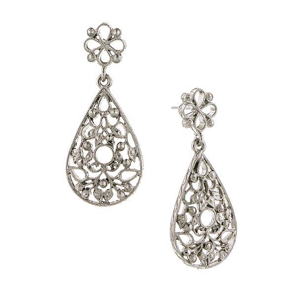 2028 Silver-Tone Filigree Teardrop Earrings
