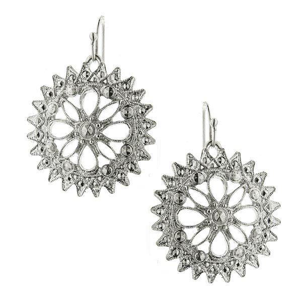 2028 Silver-Tone Round Starburst Drop Earrings