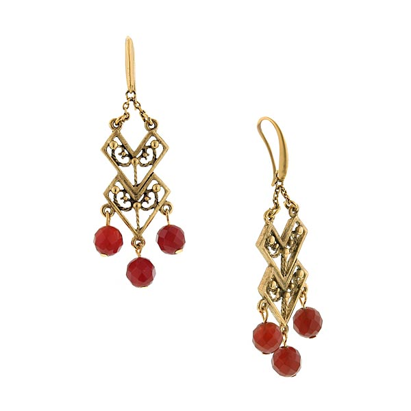 T.R.U. Carnelian Chevron Drop Chandelier Earrings