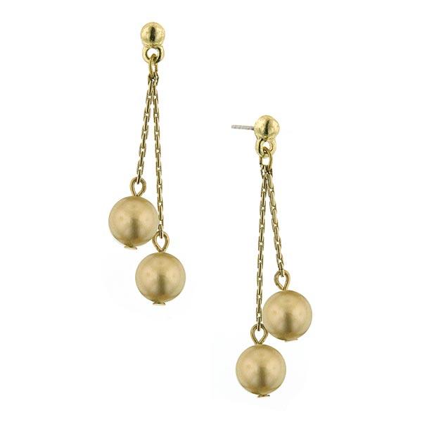 Signature Gold-Tone Golden Faux Pearl Drop Earrings
