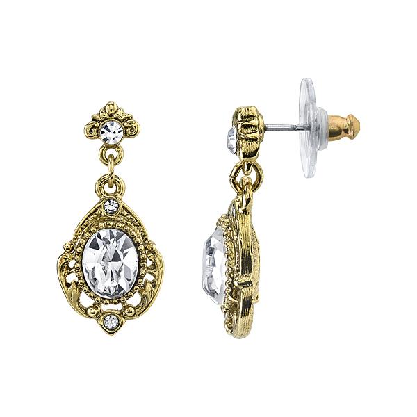 2028 Golden Glitz Gold-Tone Crystal Drop Earrings