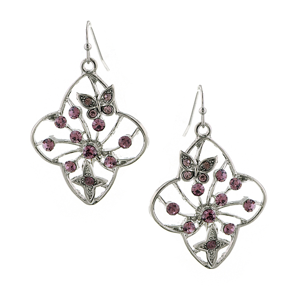 Silver-Tone Amethyst Filigree Flower Drop Earrings