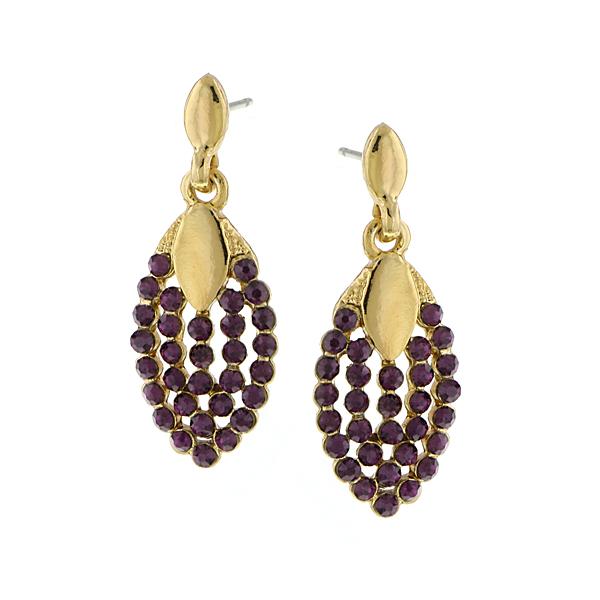 Gold-Tone Purple Crystal Pave Drop Earrings