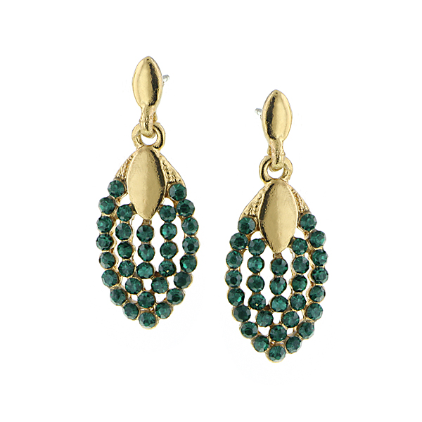 Gold-Tone Green Crystal Pave Drop Earrings