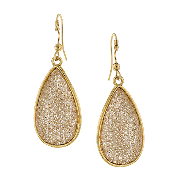 Gold-Tone Light Topaz Teardrop Earrings