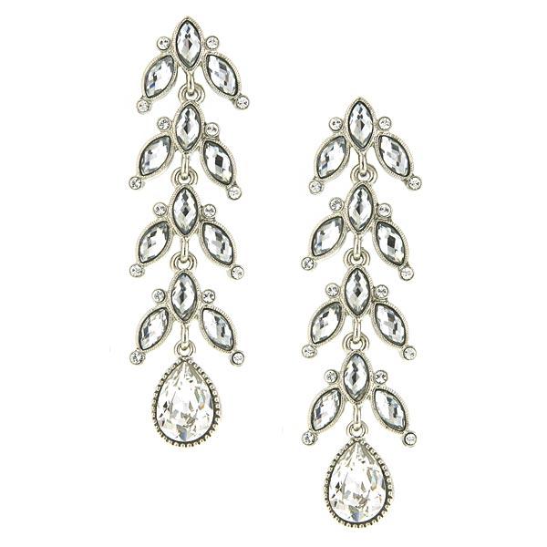 Antiquities Couture Silver-Tone Crystal Vine Linear Teardrop Earrings