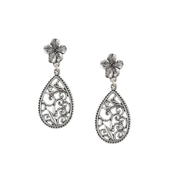 Silver-Tone Scrolls Floral Teardrop Earrings
