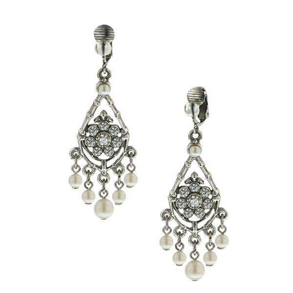 Bridal Crystal Chandelier Clip On Earrings