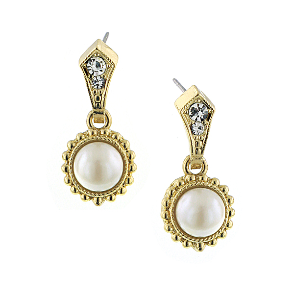 Signature Gold-Tone Faux Pearl and Crystal Drop Earrings