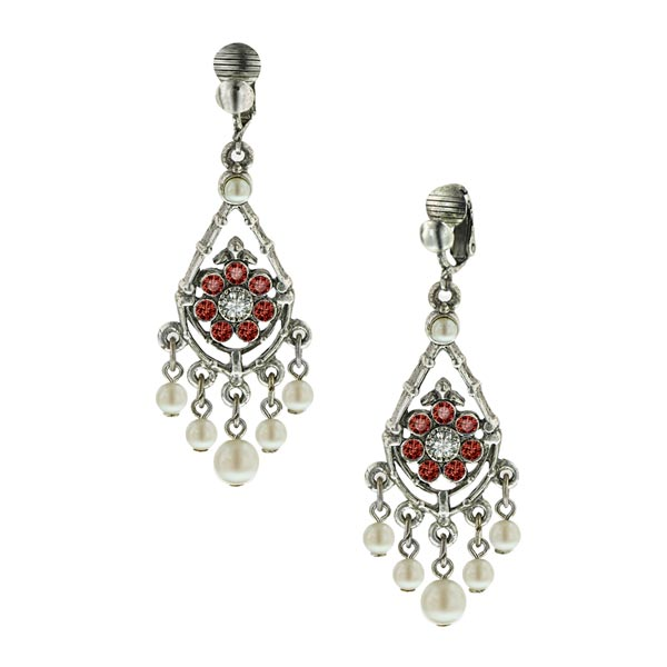 Bridal Siam Red Chandelier Clip On Earrings